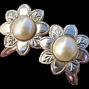 Vintage Flowers Akoya Cultured Pearl .950 Sterling Japanese Earrings, 1950's