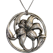 "Gorgeous Large 2.15"" Lily Floral Sterling Silver Signed Vintage Brooch / Pendant"