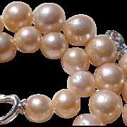"Gorgeous Big 12.5mm Golden Beige Cultured Pearls 18"" Necklace"