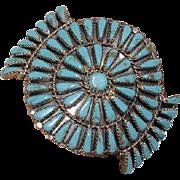 Fine Navajo Leander Nezzie Petitpoint Turquoise Cluster Bracelet