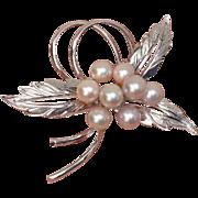 Lovely Japanese Pink Akoya Cultured Pearls & Sterling Vintage Brooch !