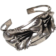 Beautiful Lily Flowers Big 3-D Vintage Sterling Silver Cuff Bracelet