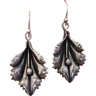 Beautiful Lily Flowers 3-D Vintage Sterling Silver Earrings - Converted for Pierced Ears