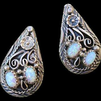 Beautiful Opal Vintage Floral Design Sterling Post Earrings -- Artist Signed