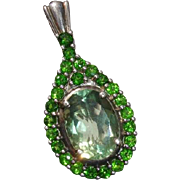 Stunning Tsavorite & Green Amethyst Sterling Silver Vintage Pendant