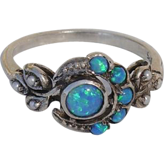 Beautiful Antique Opal & Seed Pearls Sterling Designer Signed Ring - Size 6.5