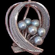 """Beautiful Blue Akoya Cultured Pearls Vintage Sterling Japanese 1.65"""" Brooch"""