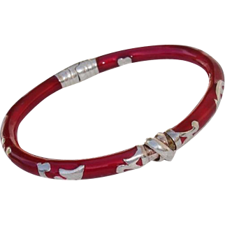 Lovely Red Enamel & Sterling Silver MILOR Italian Bangle Bracelet