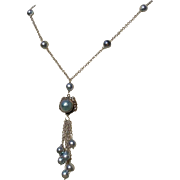 Exquisite Blue Akoya, Blue Topaz & Mabe Cultured Pearl Dangle & Sterling Silver Necklace