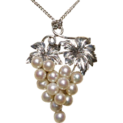 """Luscious 1.75"""" Grapes Akoya Cultured Pearls & Sterling Vintage Brooch / Pendant Combo - Japan"""