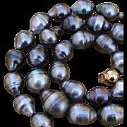 "GORGEOUS Colors ! Baroque 15.1mm Tahitian South Sea Cultured Pearls & Vermeil 18"" Vintage Necklace - w/ Velvet Pouch !"