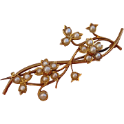 "Exquisite 18K Victorian 2.15"" Floral Seed Pearls Brooch Pin - Antique, circa 1880"