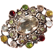 "Zoltan White Arts & Crafts 1.8"" Multiple Gems Floral Brooch / Pendant, English Antique 1890 - 1914"