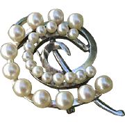 "Beautiful Japanese 1.8"" Akoya Cultured Pearls & Leaves Sterling Brooch / Pendant, 1950's - 60's"
