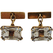 Russian Rock Quartz Crystal Cufflinks, 875 Silver Gilt - Hallmark, 1960's Vintage