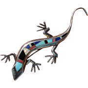 """Lizard 3.2"""" Opal, Coral, Turquoise, Lapis, Onyx & Sterling Brooch / Pendant - Vintage"""