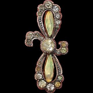Incredible Art Nouveau Iridescent Enamel Flower & Sterling Silver Antique Brooch