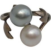 LUMINOUS Blue & White Akoya AAA+ Cultured Pearl & Sterling Japanese Vintage Ring - Size 5.25