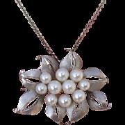 "Stunning 1.85"" Japanese Akoya Cultured Pearls Vintage Sterling Brooch / Pendant"
