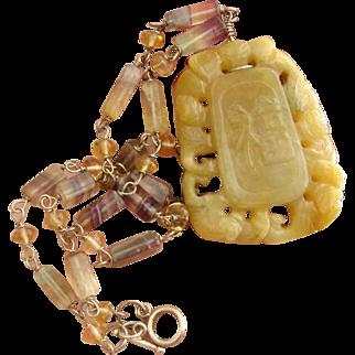 Divine Golden Yellow Jade & Rainbow Fluorite Sterling Silver Gemstone Vintage Necklace