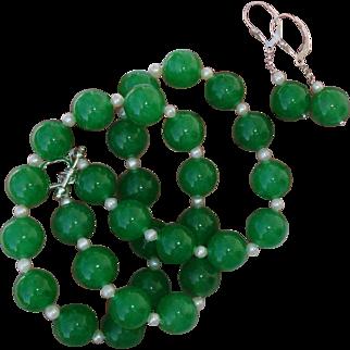 Divine BIG 12mm Celadon Jade Beads & Akoya Pearl Necklace & Earrings Set - Sterling Demi Parure