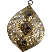"""Large 3"""" Antigue Moroccan Sterling Silver & Glass Pierced Pendant"""