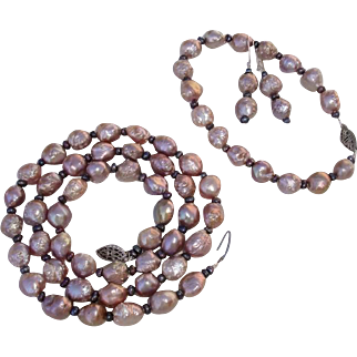 """GORGEOUS Rosebud Keshi Lavender & Deep Purple Cultured Pearls, Sterling 21"""" Necklace, Bracelet & Earrings Parure !"""
