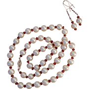"Beautiful Cultured Pearls & Almandine Garnets 10K White Gold 18"" Necklace & Sterling Earrings Set !"