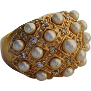 Radiant Vermeil Cocktail Ring with quality Faux Pearls & Crystals - Size 7.5