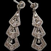 "Beautiful Dangle .950 Sterling 2.15"" Long Vintage Earrings !"