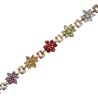 Gorgeous Gem Flowers & Sterling Vintage Bracelet : Topaz, Peridot, Amethyst, Garnets & Citrine