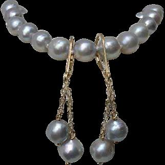 "EXQUISITE Silvery Blue Akoya Cultured Pearls, 14K Gold 7.25"" Bracelet & Earrings !"