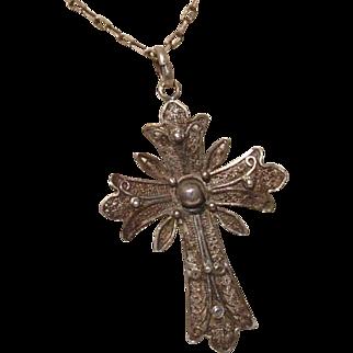 "Beautiful Sterling Silver 2.1"" Filigree Cross Pendant - Antique circa 1910"