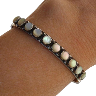 Navajo Annabelle Peterson Colorful Mother of Pearl Native American Sterling Bracelet