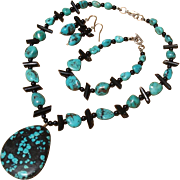 Now 30% Off - Marvelous Turquoise, Black Coral & Onyx Gemstone Sterling Necklace, Bracelet & Earrings Set
