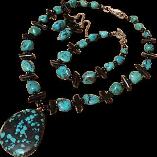 Marvelous Turquoise, Black Coral & Onyx Gemstone Sterling Necklace, Bracelet & Earrings Set
