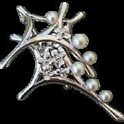 "Lovely 2.55"" Floral Akoya Cultured Pearls Vintage Sterling Brooch / Pendant"