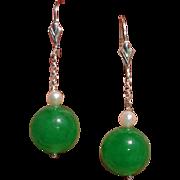 Divine BIG 12mm Celadon Jade Beads & Akoya Pearl Sterling Earrings