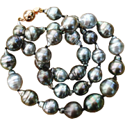 """EXQUISITE Colors ! AAA Baroque 14mm Tahitian South Sea Cultured Pearls & Vermeil 18.25"""" Vintage Necklace - w/ Velvet Pouch !"""