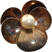 """Beautiful Large 2"""" Pansy Rose Gold over Sterling Brooch / Pendant"""
