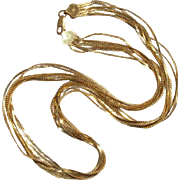 """Long 20"""" Italian Vermeil Seven Chains Gold Over Sterling Vintage Necklace - Sleek & Stylish !"""