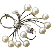 "STUNNING Large 1.8"" Mikimoto Akoya Cultured Pearl Sterling Brooch - 1940's"