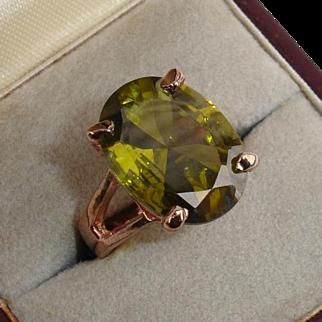 Gorgeous 6 Carat Tourmaline & 12K Rose Gold Vintage Cocktail Ring - Size 6.25
