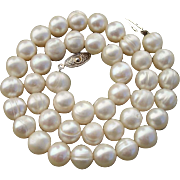 """BIG Beautiful 10.4mm Ivory White Cultured Pearls 17.5"""" Necklace"""