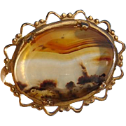 "Lovely 9K Gold ""Lighthouse Under Sunset Sky"" Picture Agate Gemstone Brooch"