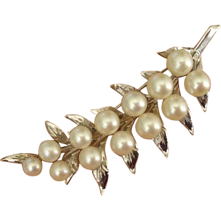 "Beautiful LARGE 2.5"" Fern Akoya Cultured Pearls Sterling Brooch, c. 1960's"