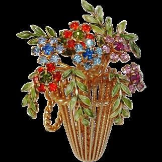 Amazing Enamel Flower Basket Floral Brooch / Pendant - Vintage WARNER Mid-Century