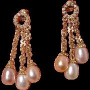 Beautiful 3 Color Cultured Pearls Vintage Gold Vermeil Dangle Earrings