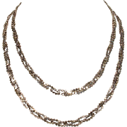 """FAB Unusual Sterling Disks Braided 3 Strand Long 30.75"""" Italian Necklace by Milor"""