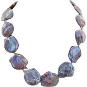 LARGE & Luscious 27mm-22mm Frosty Lavender Iridescent Cultured Coin Pearls Necklace !